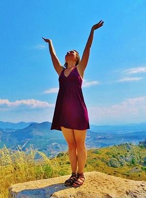 Shakti Penelope enjoying the amazing atmosphere of the sacred site dedicated to Aphrodite