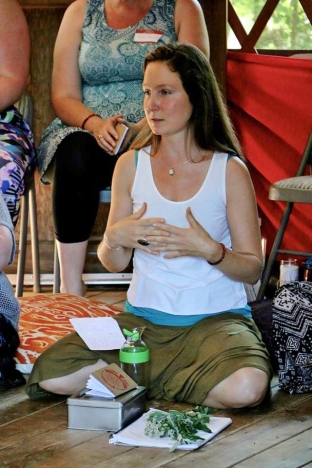 Sharing her heart and feeling so grateful at the closing ceremony of Red Tent Indy (photo courtesy of Red Tent Indy)